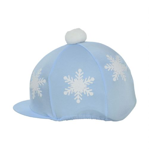 HyFASHION Snowflake Hat Cover with Pom Pom in Light Blue